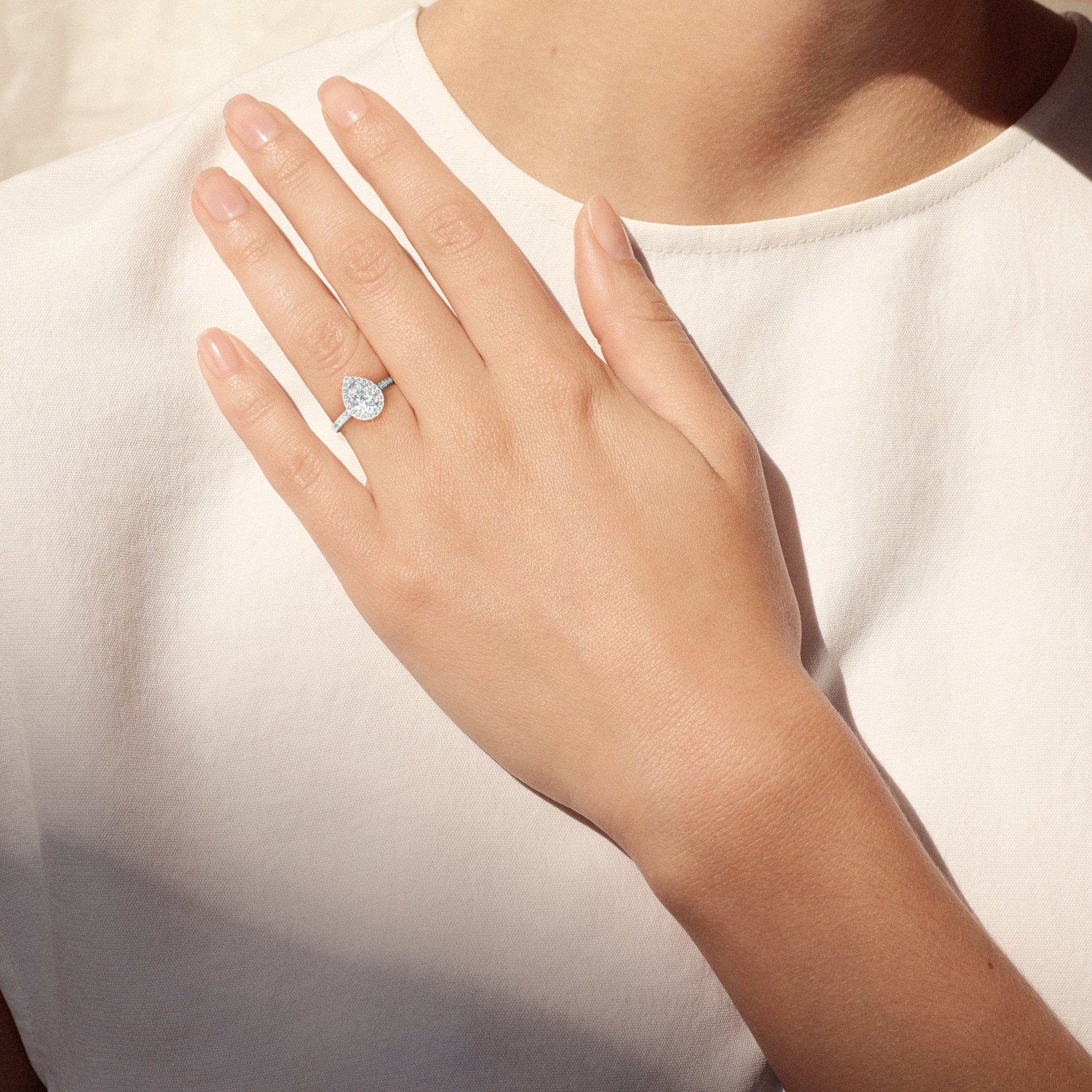 Classic Pear Shaped Halo Ring